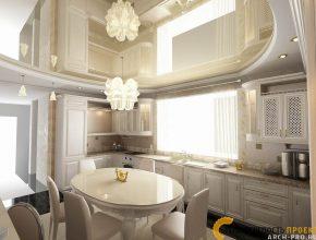 Дизайн интерьера коттеджа- кухня столовая