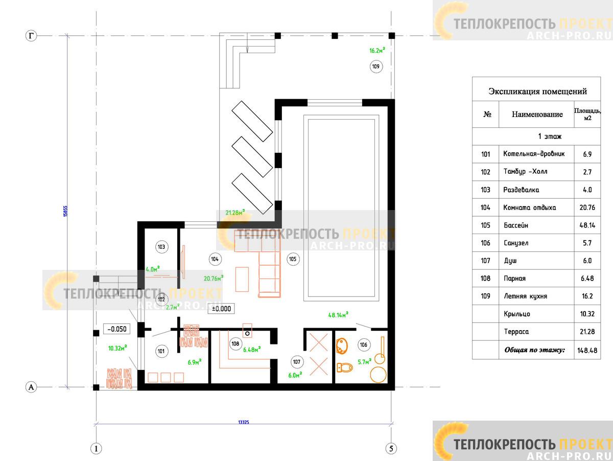 Проект угловой бани план