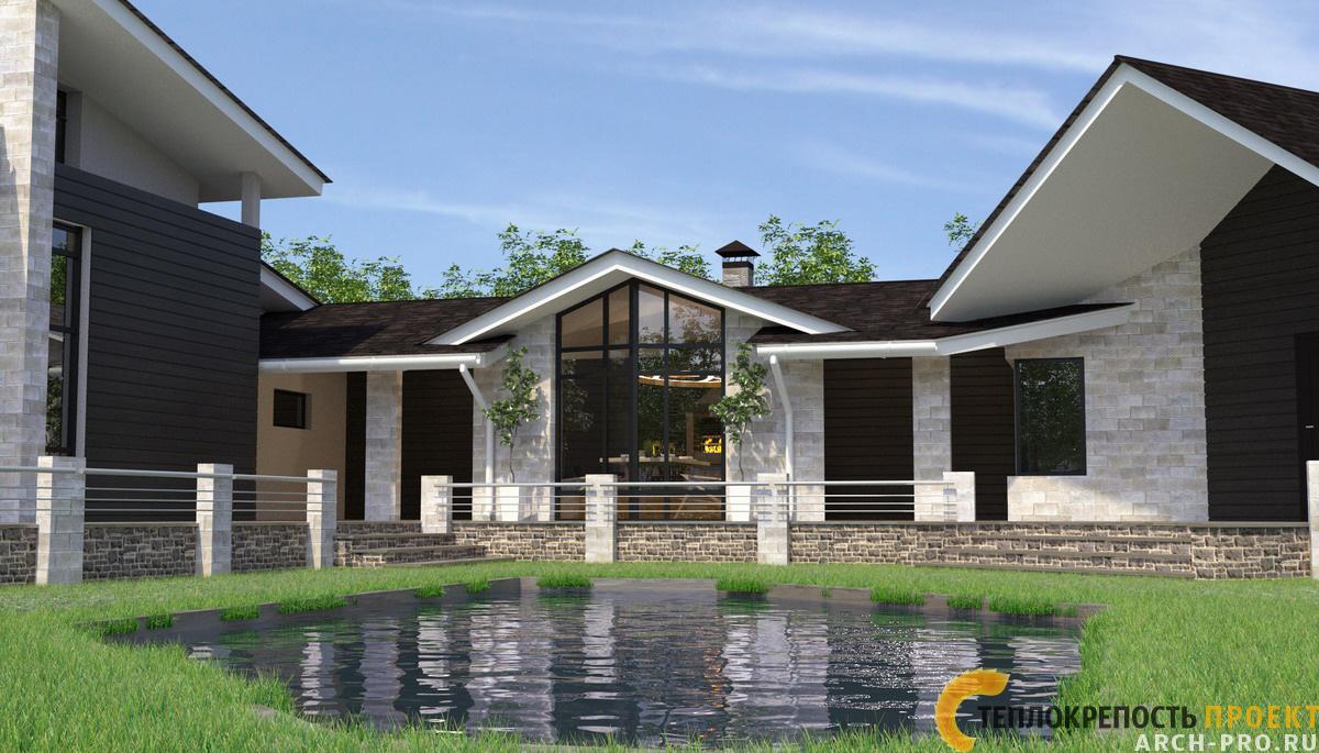 Проекты домов с большими окнами с террасой и верандой