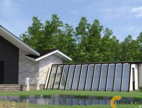 Дизайнерская теплица у дома с большими окнами