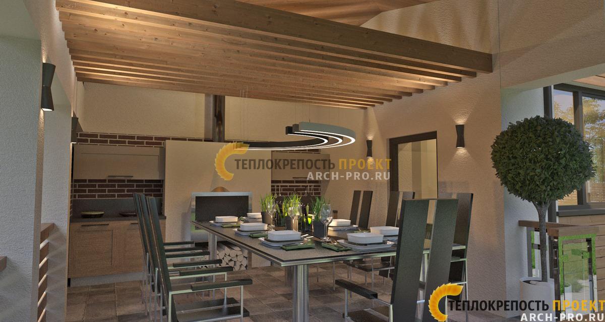 Проект дома с четырехскатной крышей с гаражом