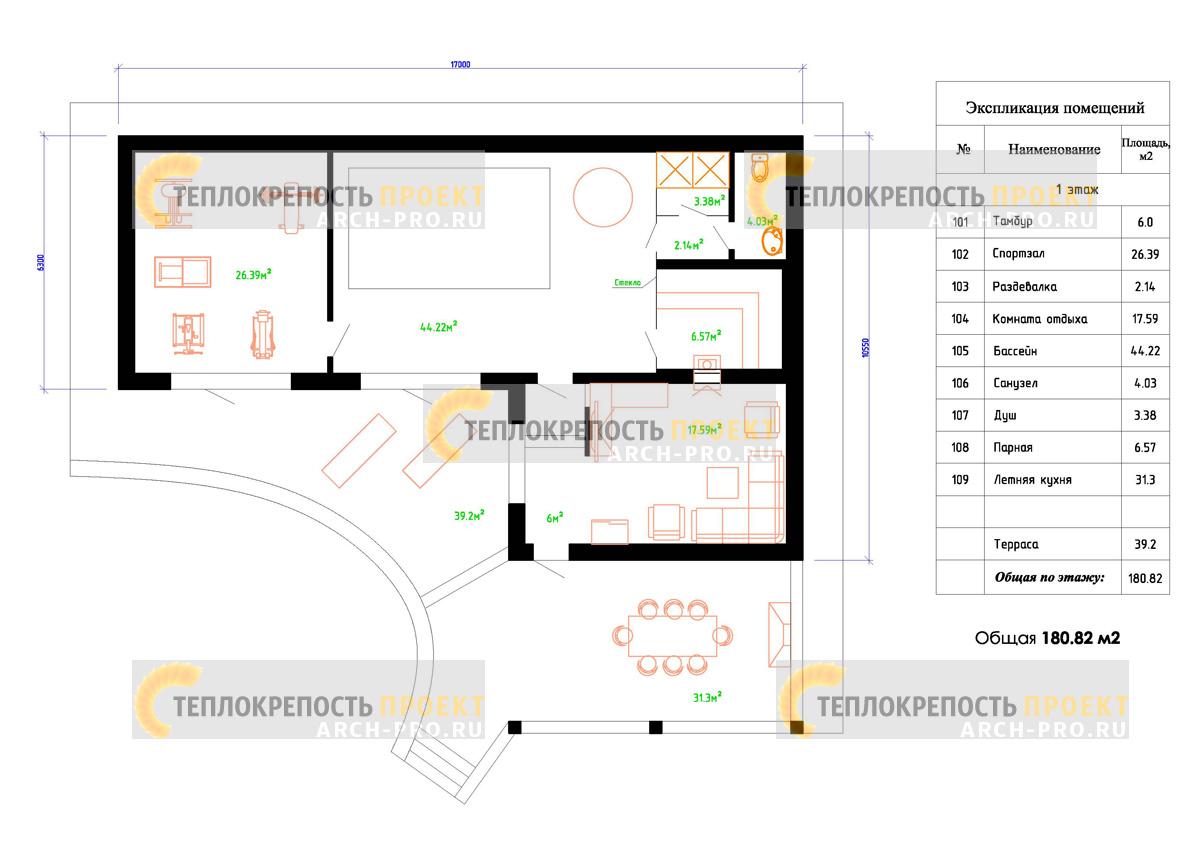 Проект банного комплекса план