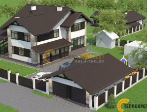 Проект участка с домом и баней