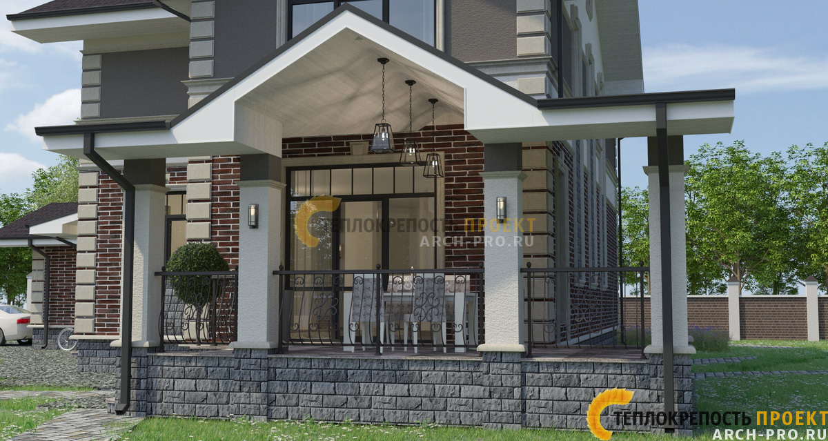 Проект углового дома с террасой