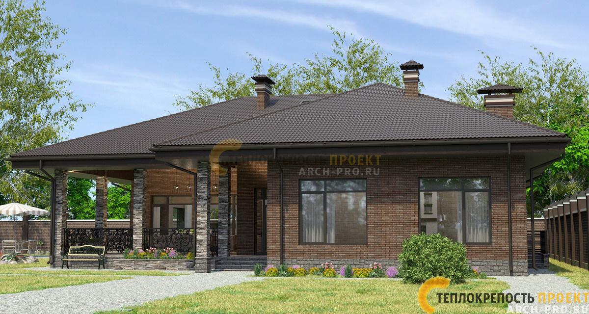 Фасад бани: коричневый клинкер с декоративными вставками