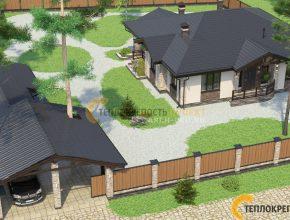 небольшой дом с гаражом и баней