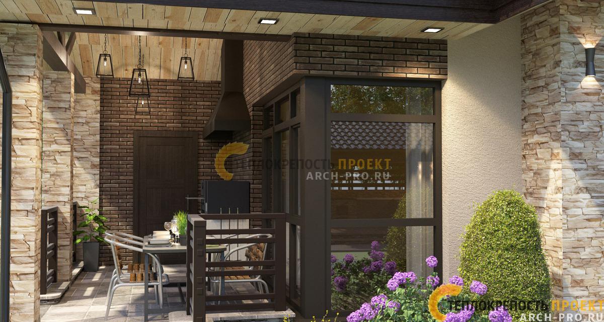 Проект одноэтажного дома с баней: терраса