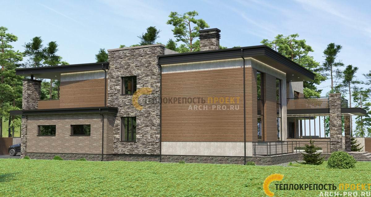 Дом хай тек с плоской крышей. Комбинированная отделка.