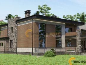 Дом хай тек с плоской крышей