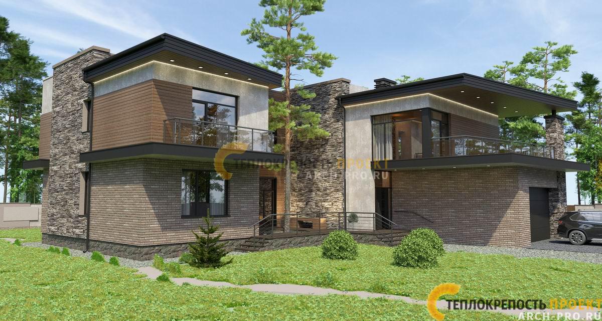 Дом хай тек с плоской крышей. Главный фасад.