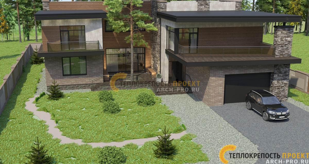 Проект дома хай тек с плоской крышей. Вид на участок с домом.
