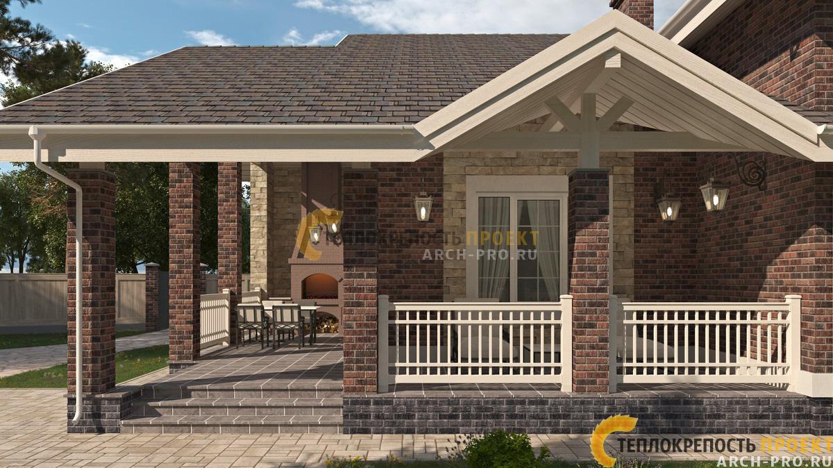 Проект дома с гаражом. Открытая терраса.