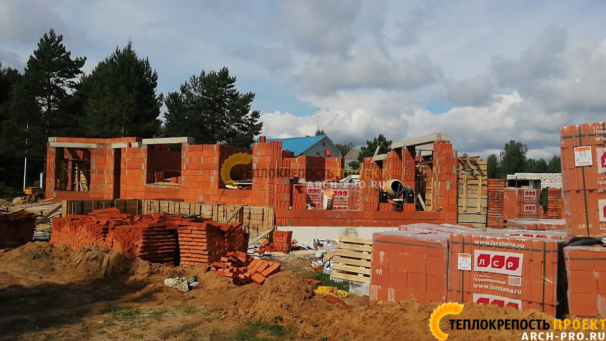 Проект кирпичного дома бани
