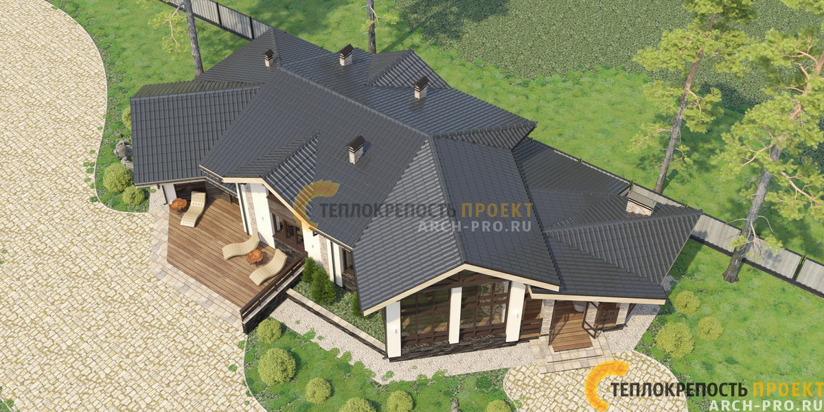 Проект кирпичного дома бани. Общий вид сверху.