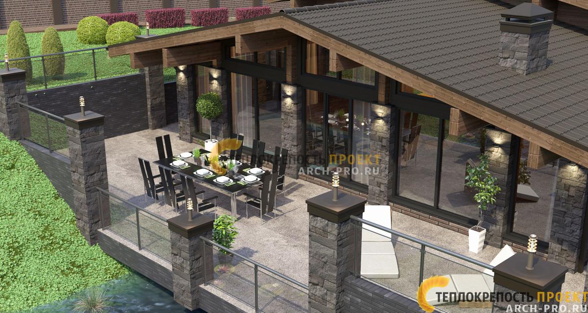 Вид на баню-гостиную со стороны открытой террасы