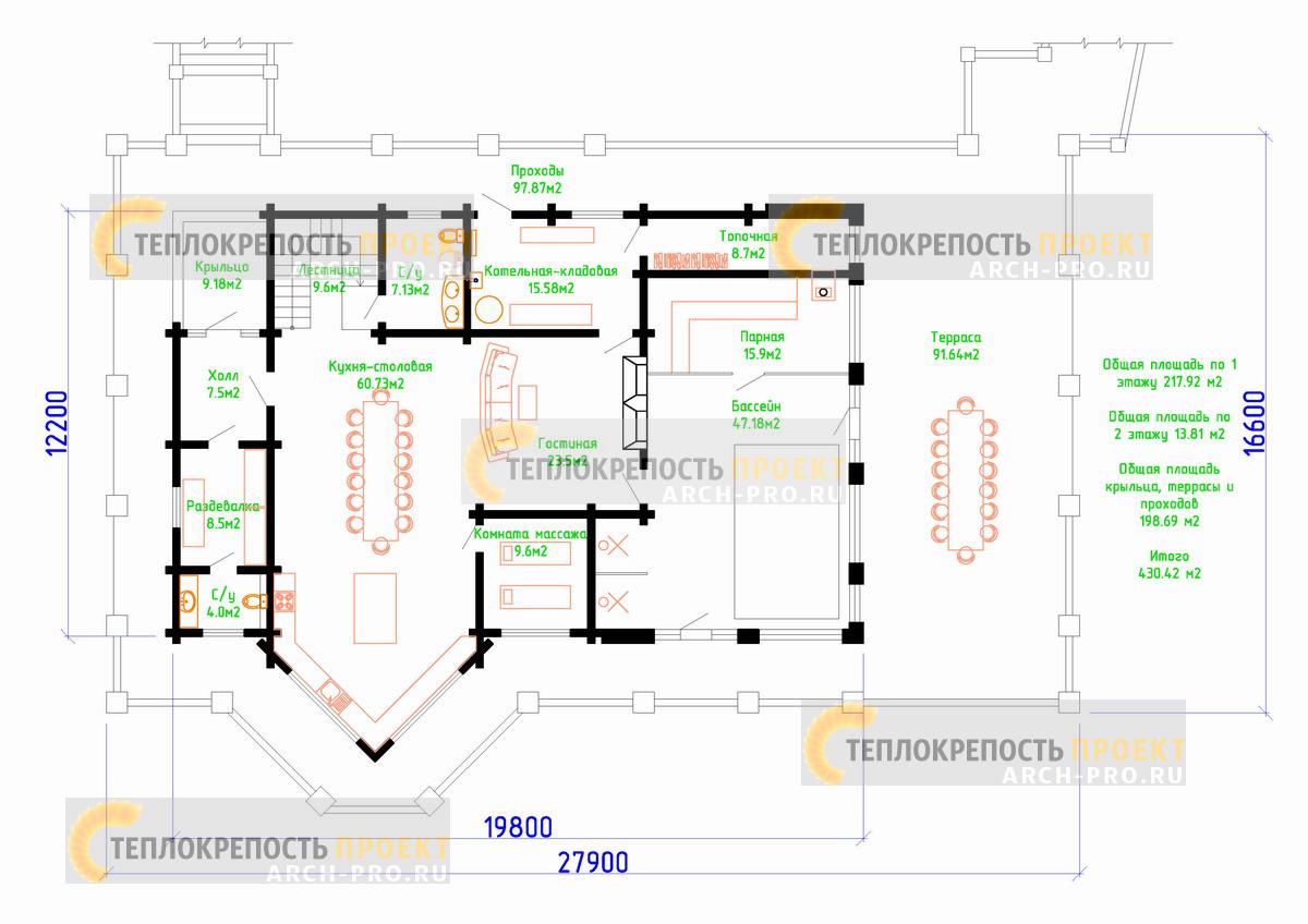 Баня-гостиная. Планировка первого этажа