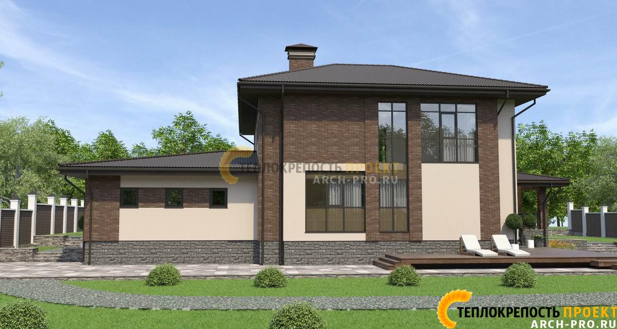 Проект дома из камня: с террасой и гаражом
