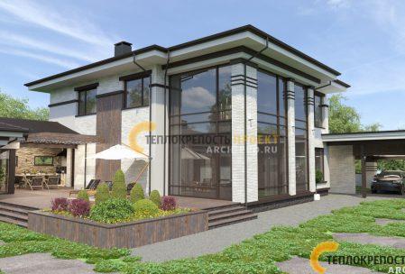 Проект дома с навесом 400 кв. м. с фасадом белого цвета