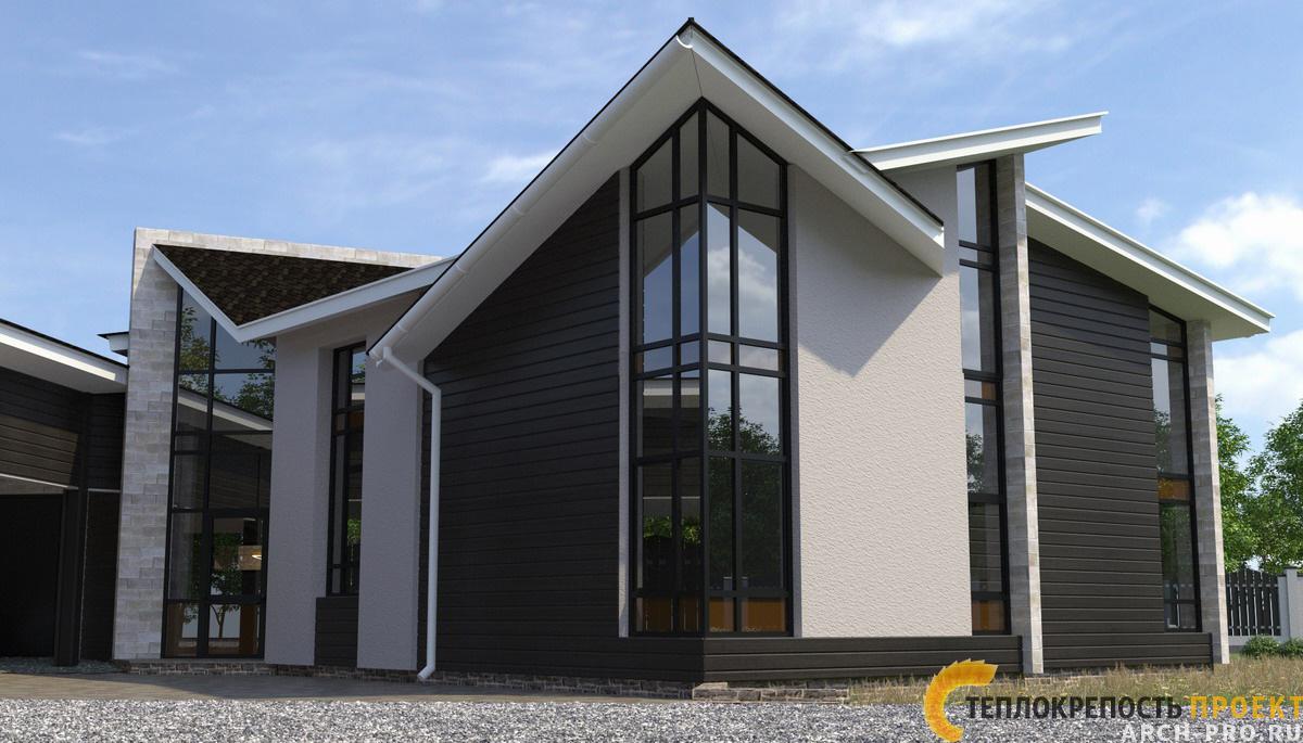 Проект дома с большими окнами