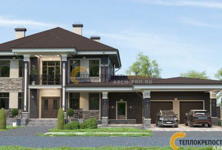 Проект дома с баней, бассейном и гаражом