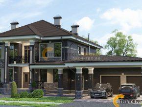 Фасад дома с баней, бассейном и гаражом