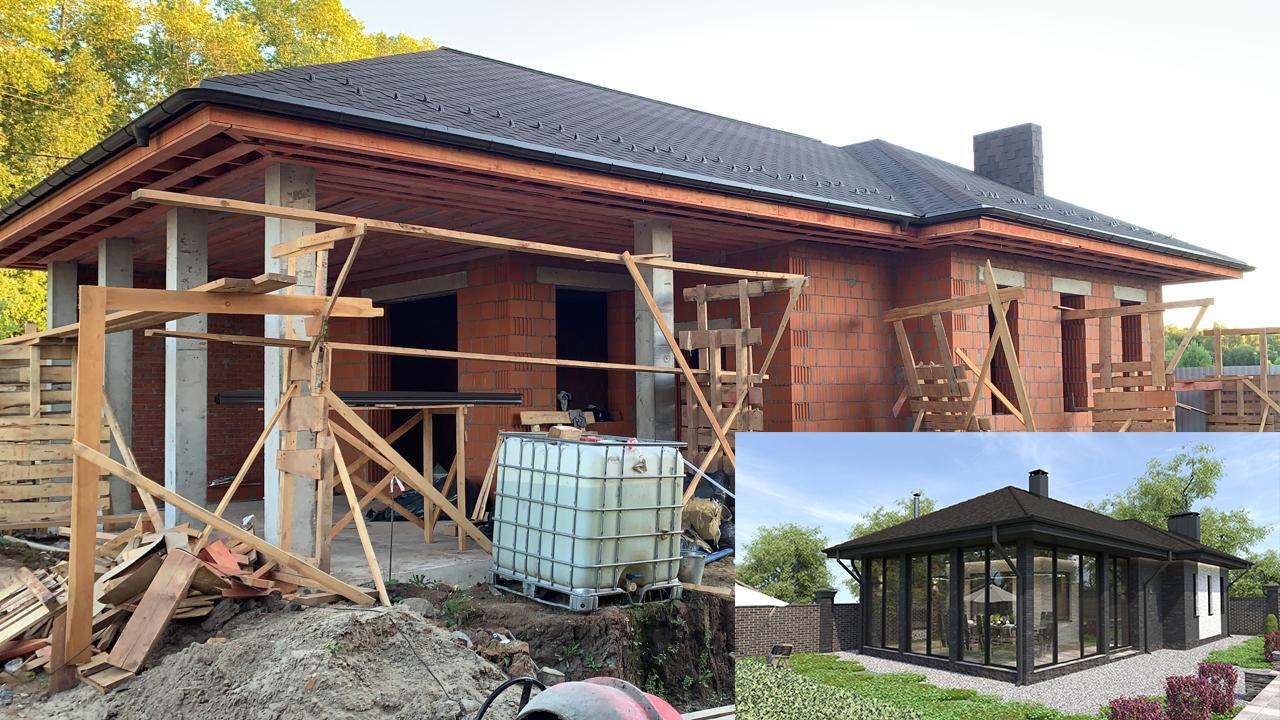 Баня с вальмовой крышей