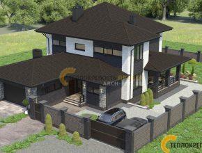 Вид на дом с гаражом