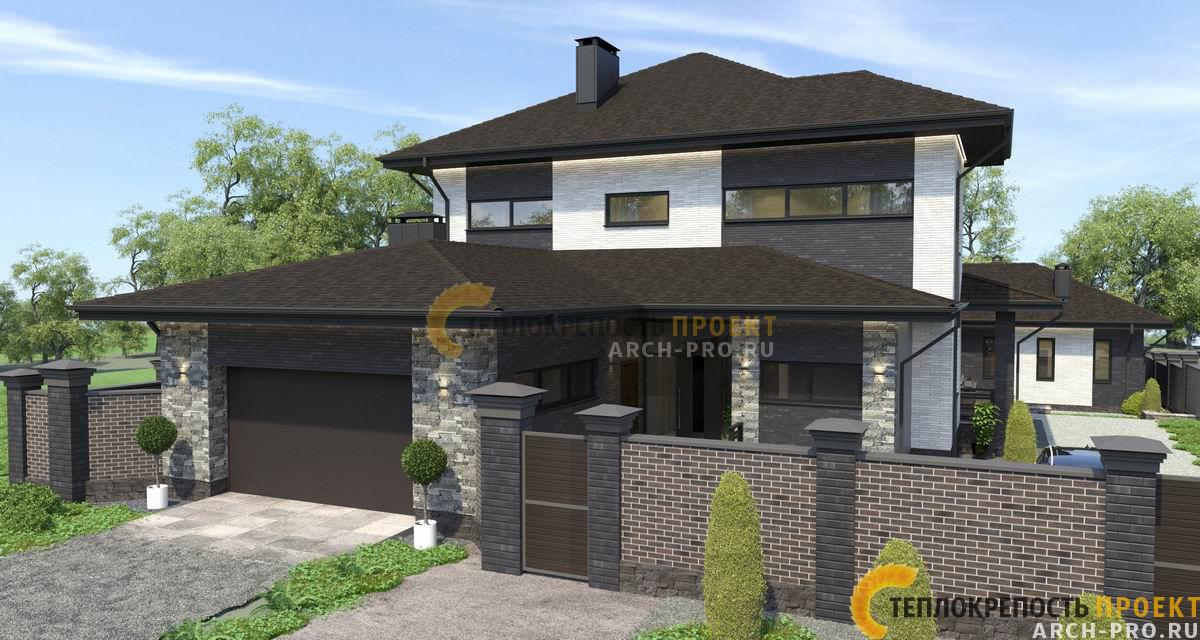 Гараж. Проект дома с горизонтальными вытянутыми окнами