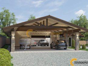 Проект большого гаража с навесом для катера