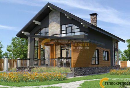 Проект двухэтажного дома с гаражом и террасой