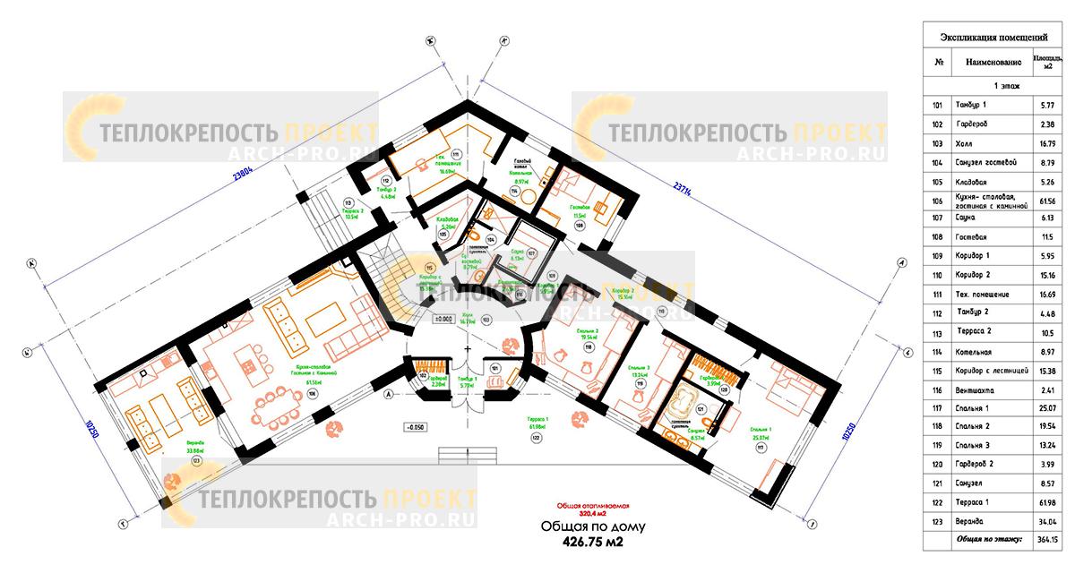 Планировка первого этажа дома с башней
