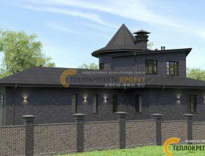 Тёмно-коричневый клинкер на фасадах дома