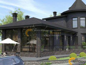 Кухня-столовая и гостиная с каминной. Большая застекленная терраса.