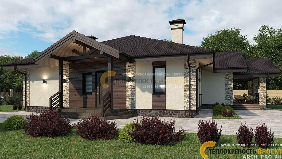 Фасад мокрого типа с тонкослойной штукатуркой, вставками планкена из дерева и искусственного камня