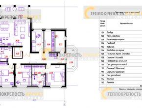 Одноэтажный дом с тремя спальнями и кабинетом. Планировка.